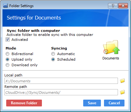 Synced folder settings
